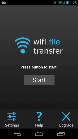 WiFi File Transfer啟動畫面